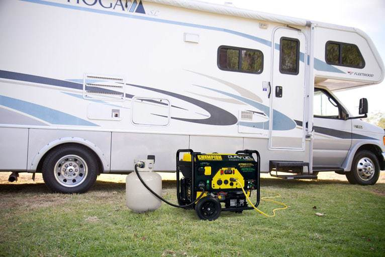 Portable Generator Next To An RV Connected