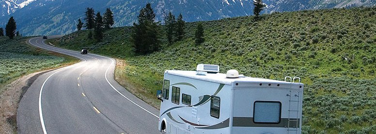 RV With Dishes Driving