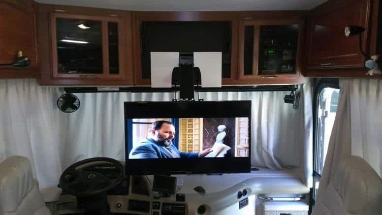 Don't watch TV while you're driving RV