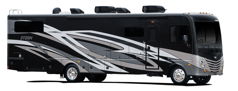 Black RV with 2 AC Units