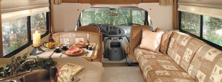Inside of an RV ready for rent