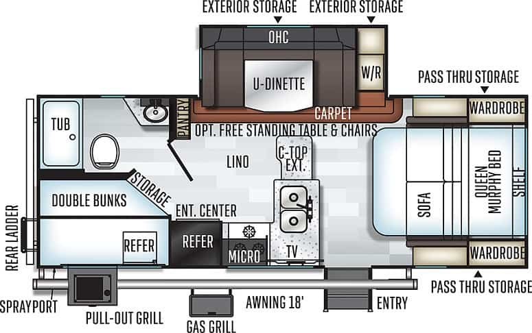 Forest River Rockwood 2509S Floor Plan