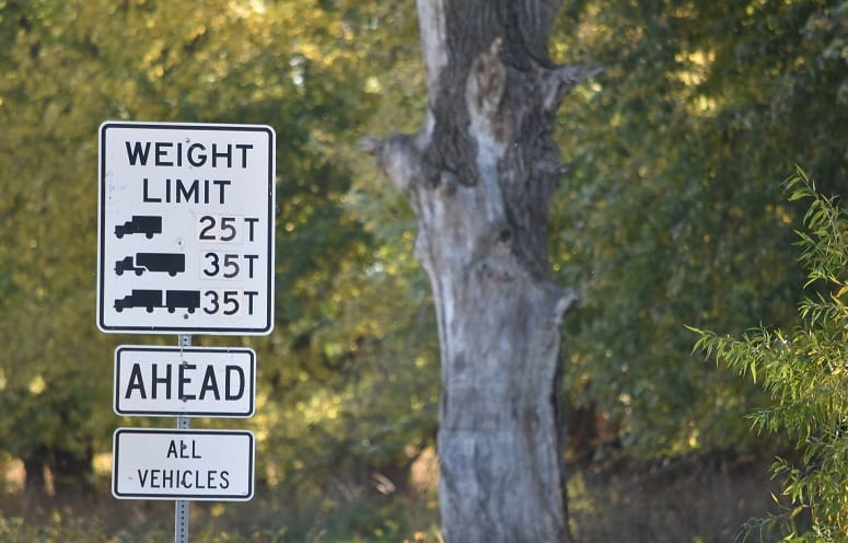 Vehicle Weight Limit Road Sign