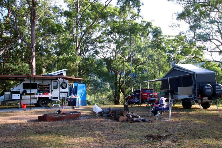 Travel Trailers On Campsite