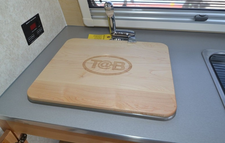 Wooden Cutting Board In RV