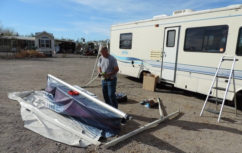 Man Removed Camper Awning