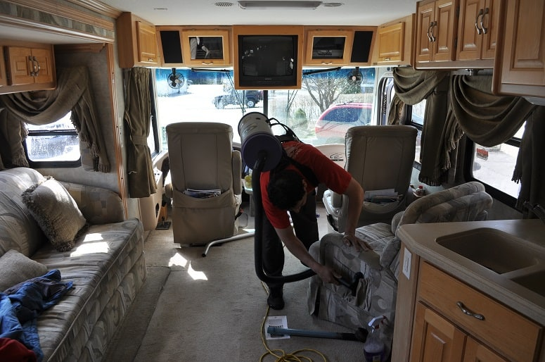Vacuuming RV Interior