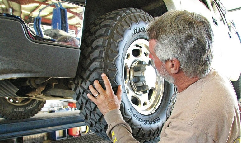 Man Inspecting Tire