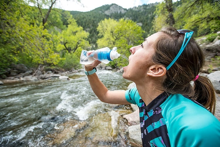 drinking from water filter
