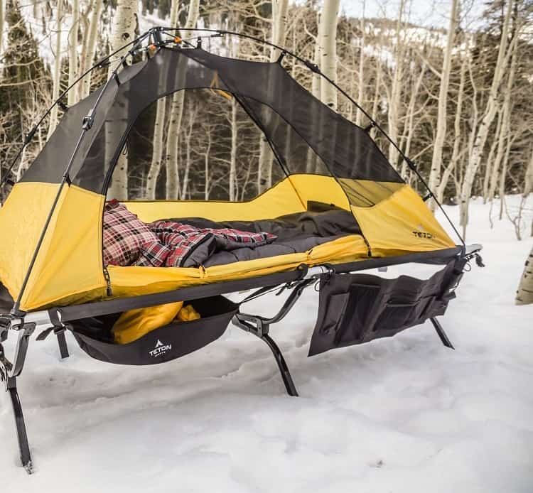 Camping Cot In Winter