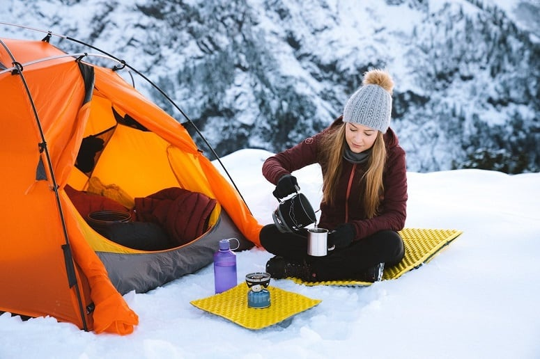 Woman On Winter Camping