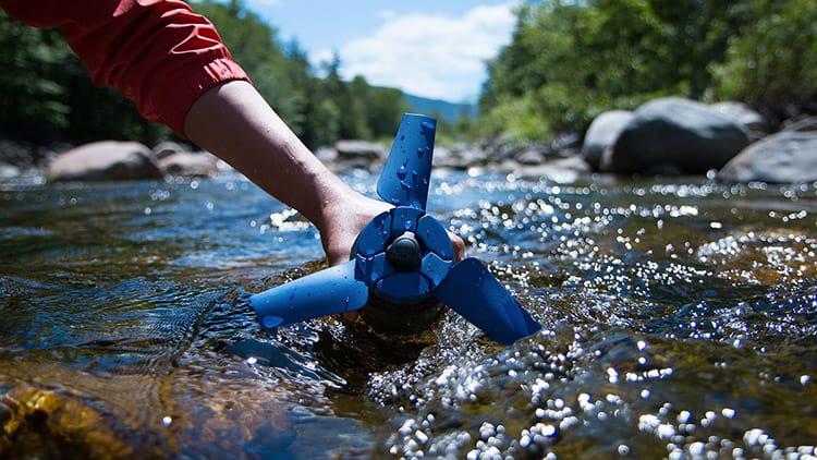 portable water filter in river