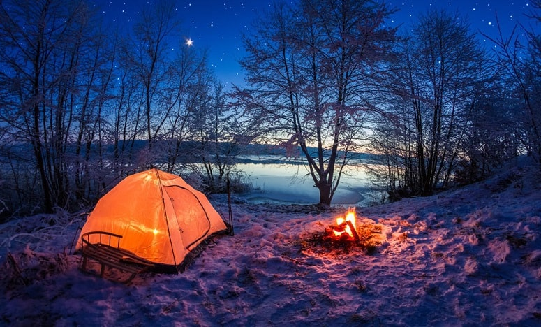 Winter Camping By Night