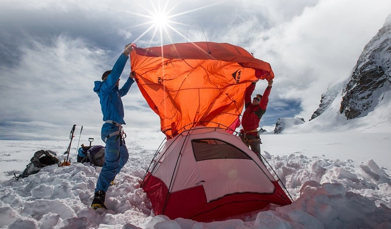 Securing The Tent On Snow