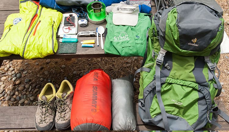 Packing for hiking