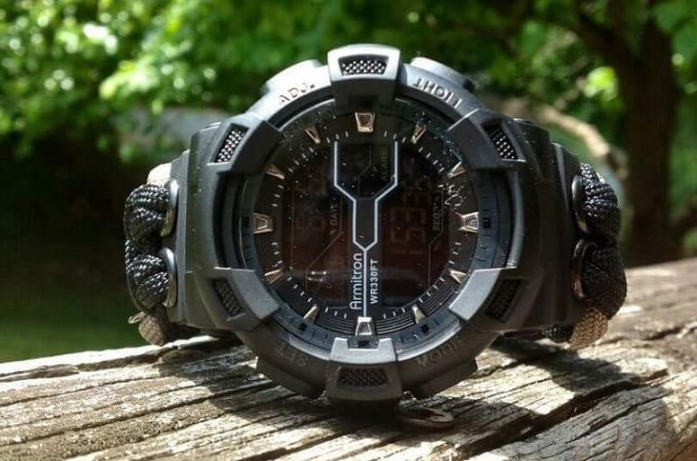 survival watch on table
