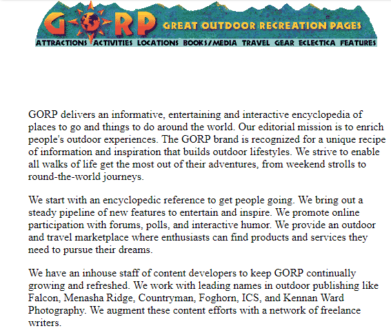 GORP the old website