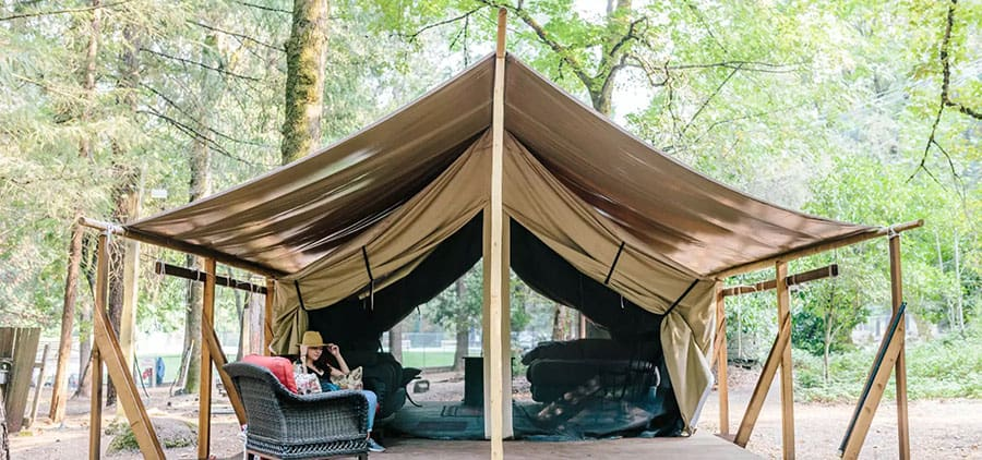 glamping in a tent