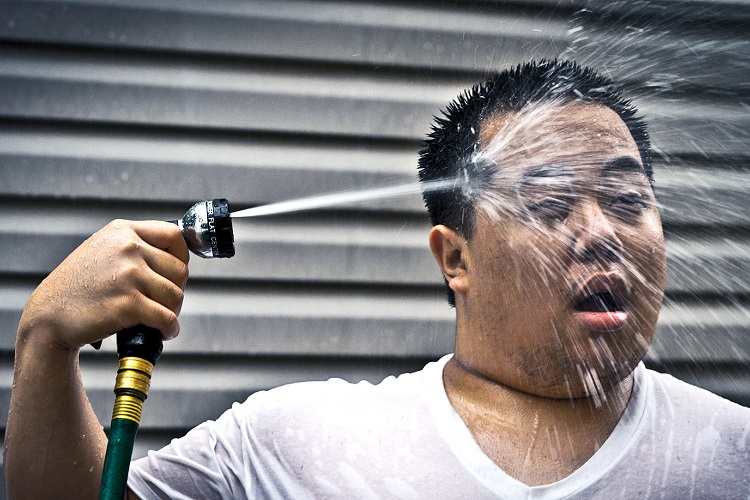 cooling down with water hose